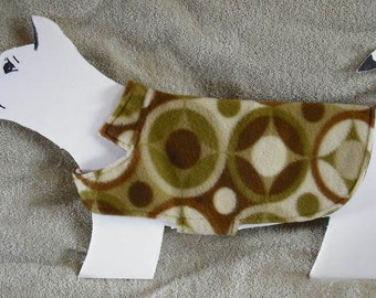 Green & Brown Geometric Fleece Dog Coat size x-small (7-10 lbs.) with soft cotton flannel lining. Cozy, Warm, Cute.