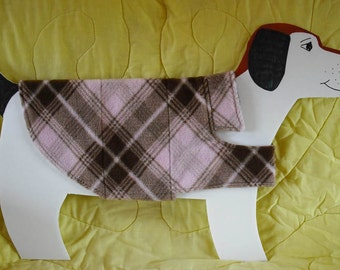 "Fleece Dog Coat — Pink and Brown Plaid,  size Medium (20-26 lbs., 23-24"" girth) with cute cotton lining. Cozy Warm."