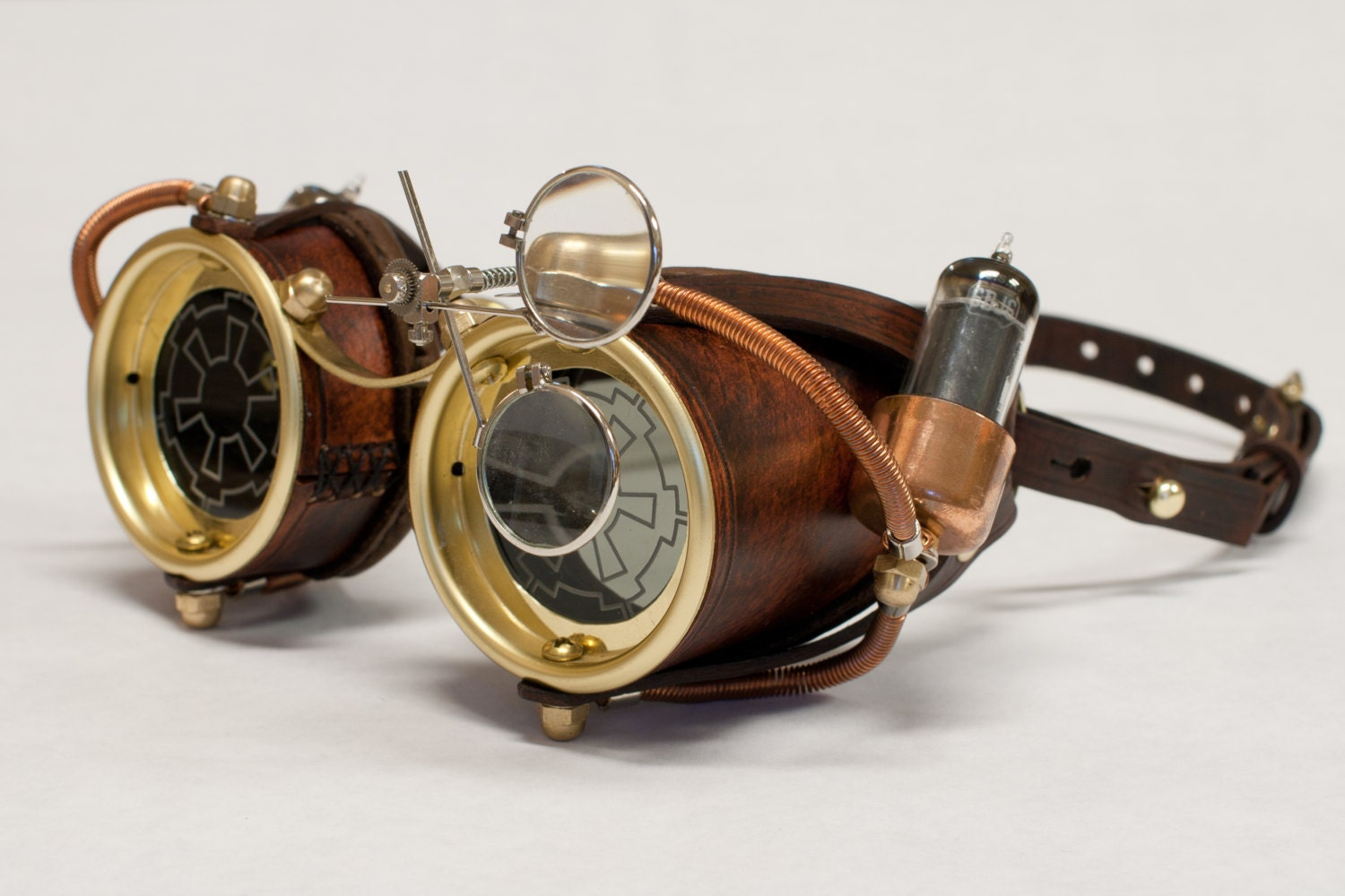 Steampunk Goggles Made from hand stitched leather copper
