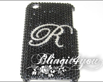 Custom Diamond Bling Letter Initial Black and White Back Case Cover for iPhone 5S 5C 6 6S 7 7 Plus Handmade 100% Swarovski Crystal Elements