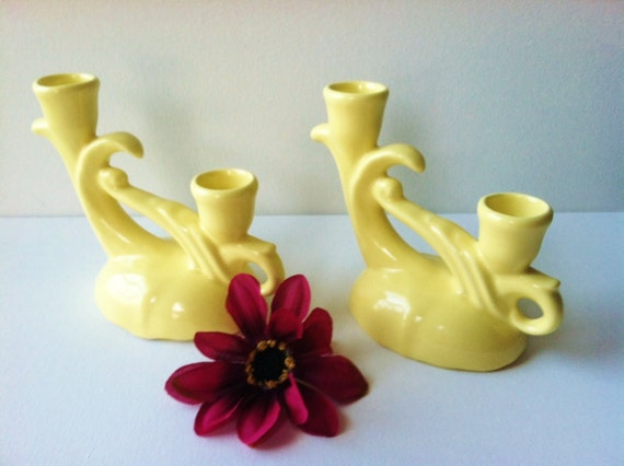 Vintage Camark Art Pottery Candle Holders  Buttery Yellow