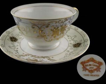 Vintage Coronet Adline Handpainted Cup and Saucer - Japan