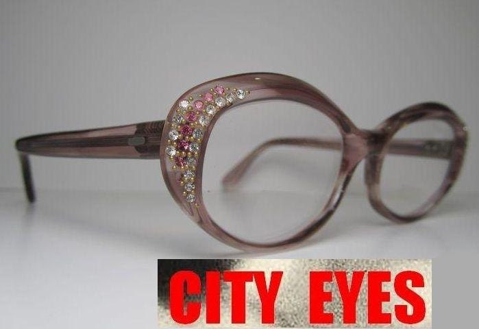 Designer Eyeglass Frames With Rhinestones : 1960s France rhinestones OVAL optical frames for Eyeglasses