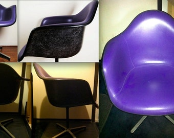 EAMES PURPLE CHAIR Alexander Girard naugahyde black fiberglass Herman Miller armshell extremely rare color