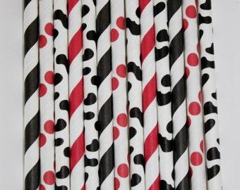 50 Cowboy Paper Straw Mix  PAPER STRAWS birthday party bridal shower event cake pop sticks Bonus diy straws flag