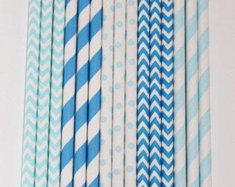 50 Blue  Paper Straw Mix  PAPER STRAWS birthday party bridal shower event cake pop sticks Bonus diy straws flag
