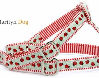Red dog harness dog leash Ladybug step in dog harness Cute girl dog harness Adustable small dog harness Large dog step in harness
