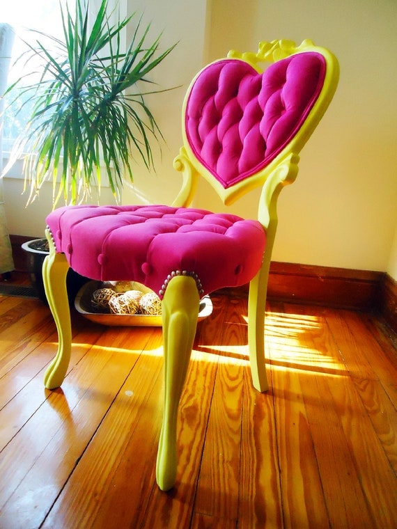 Velvet Tufted Antique Victorian Heart Back Chair - Upcycled - Magenta & Yellow