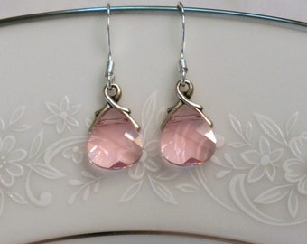 Pink Bridesmaid Earrings Pink Bridesmaid Jewelry Set Swarovski Crystal Earrings, Bridesmaid Earrings, Drop Earrings