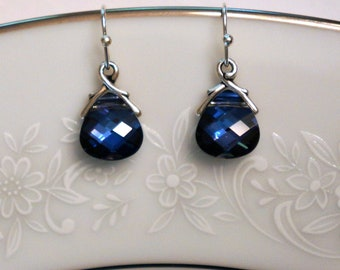 Blue Crystal Earrings, Swarovski Crystal Earrings, Bridesmaid Earrings, Drop Earrings