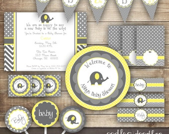 Elephant Baby Shower, Gender Neutral Baby Shower, Yellow and Gray,  Chevron, Polka Dots, Baby Shower Party Package, Printable