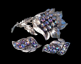 Vintage Coro Aurora Borealis Blue Rhinestone Silver Leaf Brooch & Earring Set