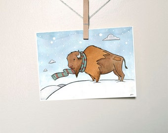 Handsome Buffalo with Scarf Holiday Art Print- Winter Art- Buffalo Nursery Art- from original watercolor painting 5x7