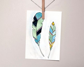 Feather art Print Illustration - Print - Watercolor -  5 x 7