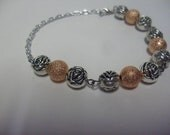 Silver Rose Bracelet and Shimmery Pink Beads