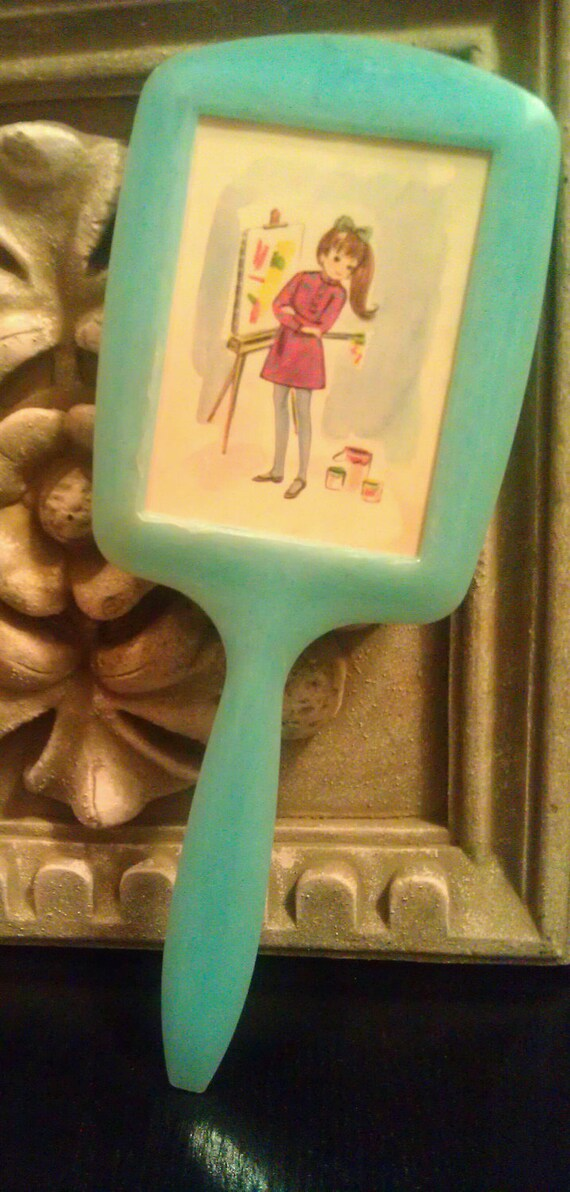 Vintage Girl's Vanity Hand Mirror -Powder Blue-