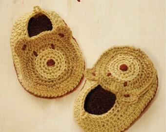 Crochet Booties Pattern Baby Bear Booties Crochet PATTERN Baby Slippers Crochet Baby Shoes Bear Appliques - Photo, Chart & Written Pattern