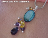 """on SALE 925 """"stunning dramatic color combo"""" Amethyst pendant Crystal Mother of Pearl Sterling Silver golden honey topaz blue purple"""