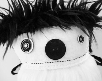POLKADOTTYDOLL - Plush Animals Creature Plushie Soft Sculpture Doll Black and White Faux Fur Plush Art Doll OoAK - LYNDA BLACK