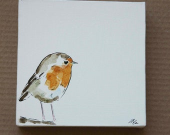 Robin Painting on Canvas by Imogen Man