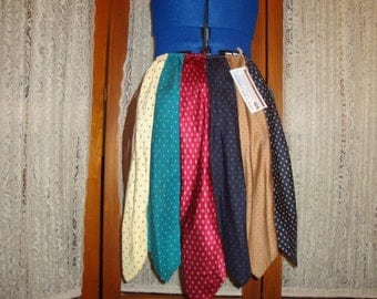 Sale !!  Upcycled Necktie Skirt - Diamonds & Dots   Small/Short