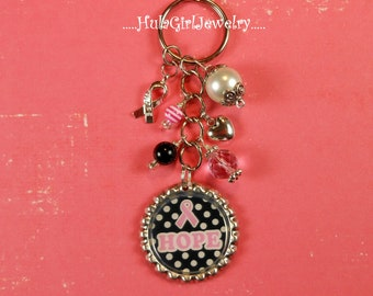 BREAST CANCER AWARENESS, Hope, Bottle Cap Jewelry Key Chain