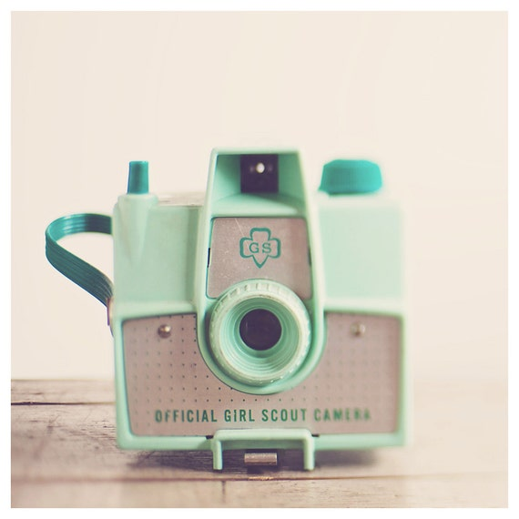 camera photograph, mint, cream, still life photography, color photography, girl scout, mint camera, pastel, nursery wall art