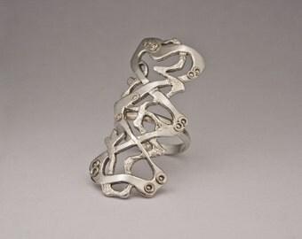 Long Armor Ring, Sterling Silver Half Finger Ring