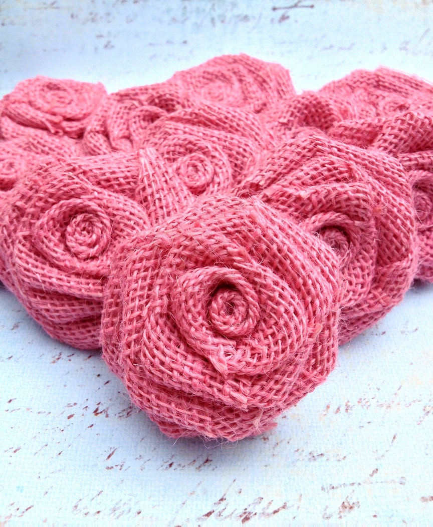 Knitting Pattern For Christmas Rose : One Dozen Snap Pink Burlap Roses Party by DixieByDesign on Etsy