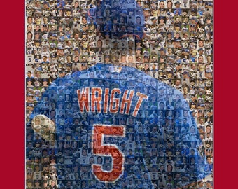 "David Wright Photo Mosaic Print Art using 50 different player images of David. 8x10"" Matted."