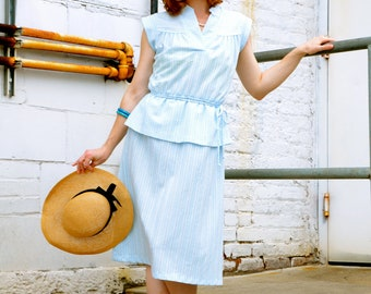 SALE 50s Vintage Baby Blue Peplum Dress Size Extra Small / Small