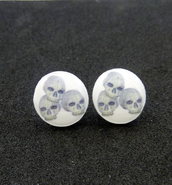 Skull Earrings.  Resin Post Skull Earrings. Stacked Human Skull earrings.