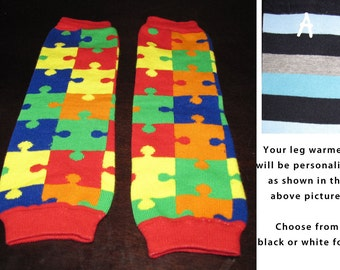 RAINBOW PUZZLES baby leg warmers.  Great for babies, toddlers, and young kids