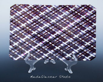 Plaid Grape Noodle Woven Plate with Dichroic Accents