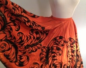 Vibrant Orange 1950s Hand Painted Mexican Circle Skirt