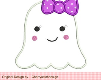Halloween Cute Girl Ghost- 4x4 5x7 Machine Embroidery Applique Design