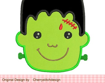 Halloween Frankenstein- 4x4 5x7 Machine Embroidery Applique Design
