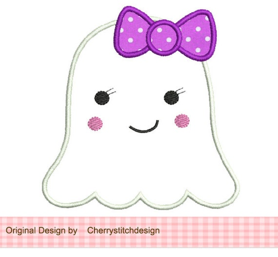 Halloween Cute Girl Ghost 4x4 5x7 Machine Embroidery Applique Girl Ghost Clipart