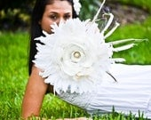 Feather Wedding  Bouquet - White / Ivory Peacock Feathered Bouquet, Peacock inspired, Bridal Parties, Baby Shower Decorations
