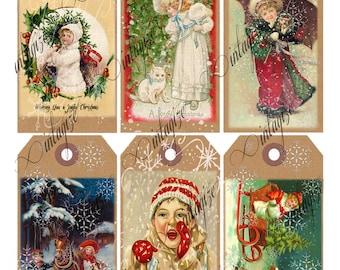 Digital Christmas Tags   Printable Vintage Victorian Christmas Children Gift Tags-  Collage Sheet