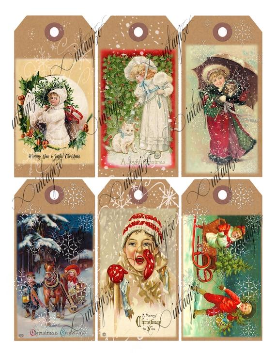 Digital Christmas Tags Printable Vintage Victorian Christmas
