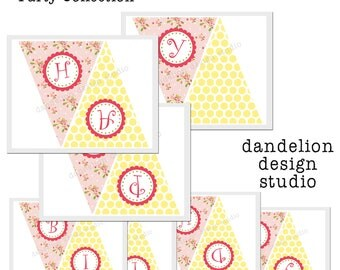 PRINTABLE Happy Birthday Banner - Bright Shabby Chic Party Collection - Dandelion Design Studio