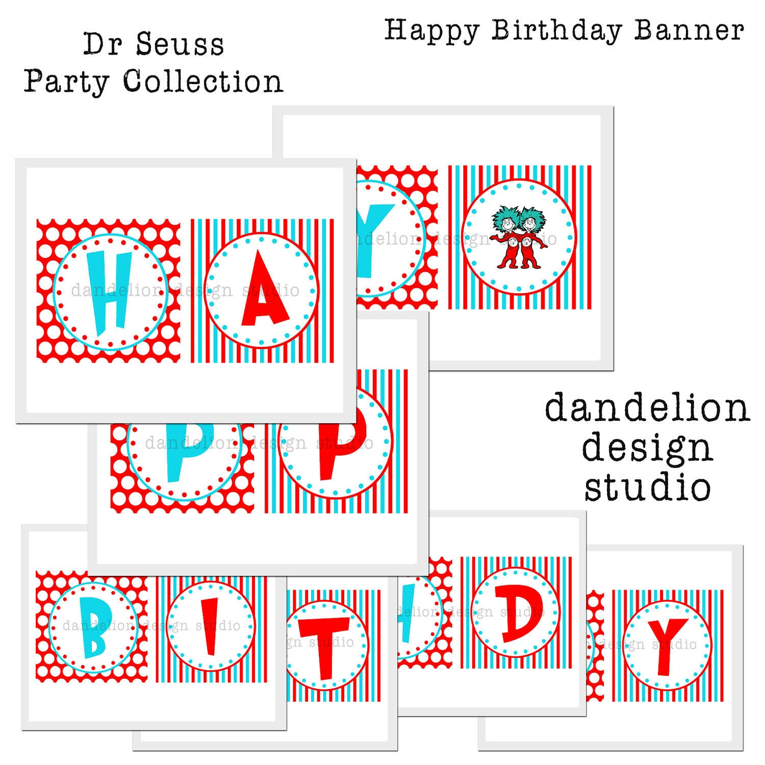 PRINTABLE Happy Birthday Banner Dr Seuss Party Collection
