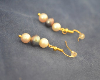 Culture Pearl Earrings in 3 Colors, Gold Plated French Hooks   E 203