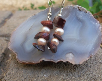 Wedding Red Tigers Eye Chip and Pink Pearl Earrings