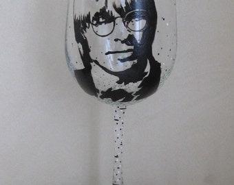 Hand Painted Wine Glass - JOHN DENVER