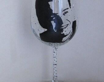 Hand Painted Wine Glass - LEONARDO DICAPRIO, Actor, Film Producer