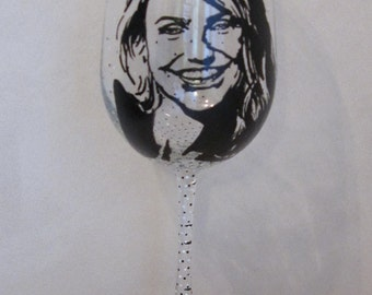 Hand Painted Wine Glass - CAMERON DIAZ, Actress