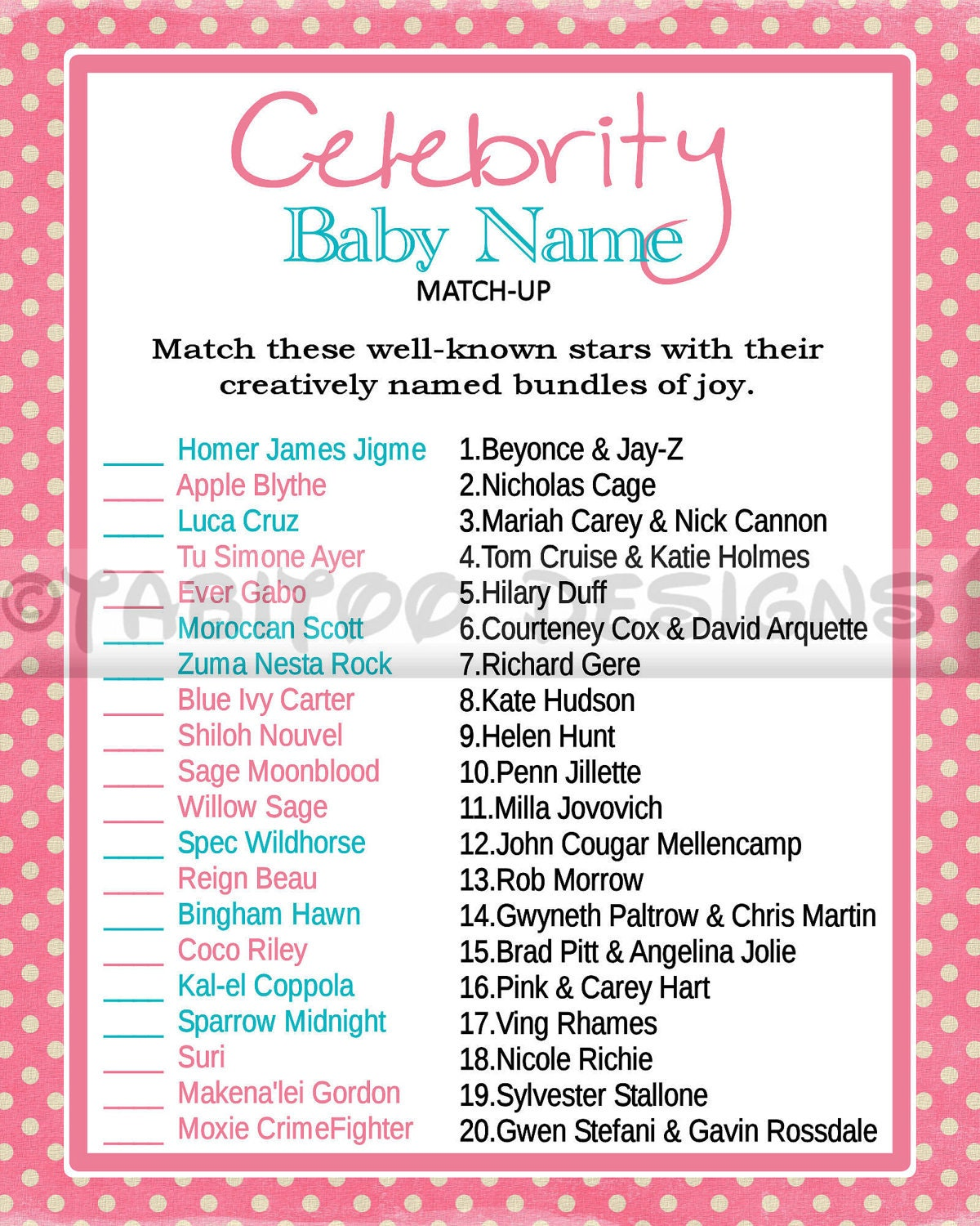 Celebrity baby name game, Celebrity baby shower ... - etsy.com