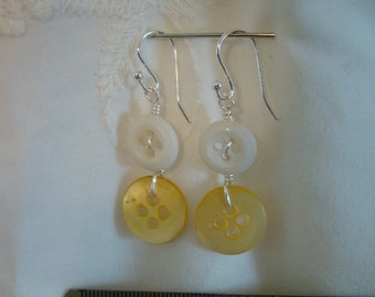 Yellow and white  Dangle Earrings handmade with Antique Buttons and Sterling Silver post